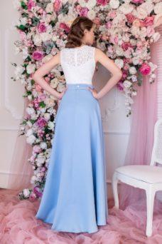 Вечернее платье макси с голубой юбкой и кружевным верхом купить в интернет-магазине