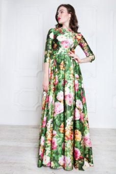 Зеленое длинное платье из хлопка с цветочным принтом купить в интернет-магазине