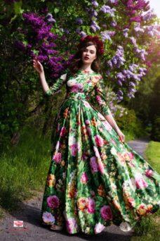Зеленое длинное платье из хлопка с цветочным принтом купить в Воронеже