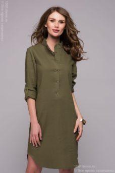 Зеленое платье-рубашка с разрезами по бокам купить в Воронеже