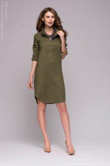 Зеленое платье-рубашка с разрезами по бокам купить в интернет-магазине