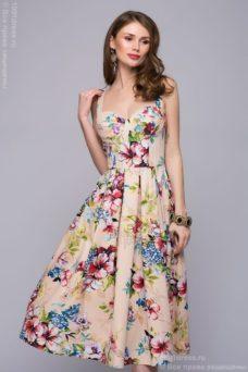 Бежевое платье миди с цветочным принтом на бретелях купить в Воронеже