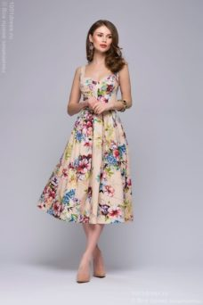Бежевое платье миди с цветочным принтом на бретелях купить в интернет-магазине