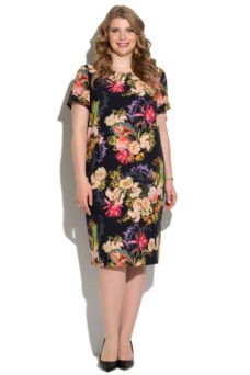 Черное коктейльное платье большого размера с цветочным принтом прямого кроя купить в интернет-магазине