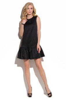 Черное коктейльное платье мини прямого кроя с воланом по низу купить в интернет-магазине