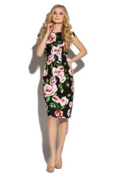 Черное платье-футляр из хлопка с цветочным принтом и вырезом на спине купить в Воронеже