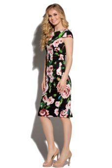 Черное платье-футляр из хлопка с цветочным принтом и вырезом на спине купить в интернет-магазине