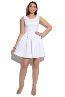 Короткое белое платье из жаккарда без рукавов с пышной юбкой купить в Воронеже