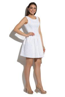 Короткое белое платье из жаккарда без рукавов с пышной юбкой купить в интернет-магазине