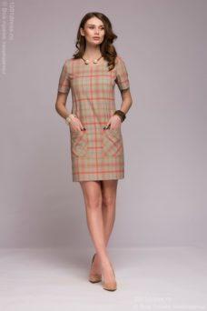 Короткое бежевое платье в клетку с накладными карманами купить в интернет-магазине