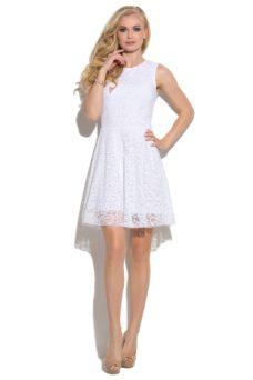 Короткое кружевное платье белого цвета с расклешенной юбкой купить в интернет-магазине