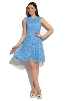 Короткое кружевное платье голубого цвета с расклешенной юбкой купить в Воронеже