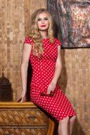 КупитьКрасное платье-футляр из хлопка в белый горошек с вырезом на спине в магазине женской одежды в Воронеже