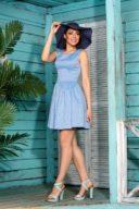 Короткое голубое платье из жаккарда без рукавов с пышной юбкой купить в Воронеже