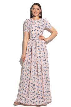Платье макси пудрового цвета с цветочным принтом и короткими рукавами купить в интернет-магазине
