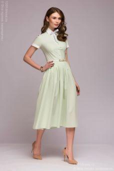 Платье миди мятного цвета с бантиком и белой отделкой купить в Воронеже