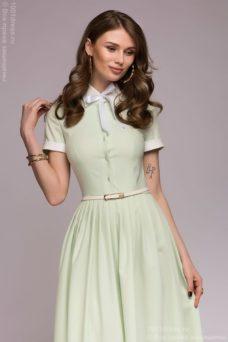 Платье миди мятного цвета с бантиком и белой отделкой купить в интернет-магазине