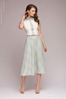 Платье миди с голубой юбкой в клетку и ванильным верхом без рукавов купить в Воронеже