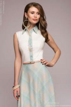 Платье миди с голубой юбкой в клетку и ванильным верхом без рукавов купить в интернет-магазине