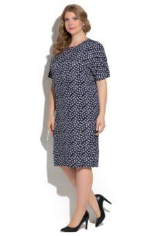"""Темно-синее свободное платье большого размера с мелким принтом и рукавом """"летучая мышь"""" купить в интернет-магазине"""