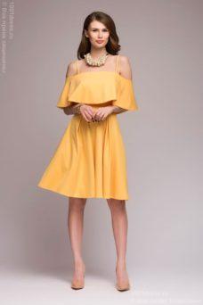 Желтое платье длины мини на бретелях с двойным воланом купить в интернет-магазине