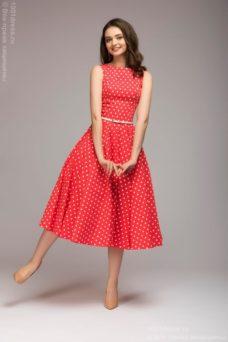 Платье кораллового цвета в горошек длины миди в стиле ретро купить в Воронеже