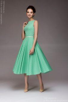 Платье мятного цвета в горошек длины миди в стиле ретро купить в Воронеже