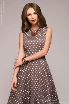 Платье цвета мокко в горошек длины миди в стиле ретро купить в интернет-магазине