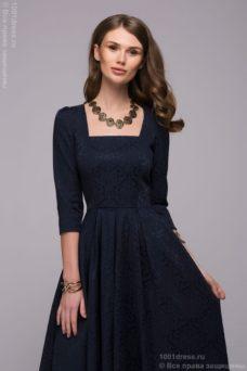 Длинное темно-синее платье с прямоугольным вырезом и рукавами 3/4 купить в интернет-магазине