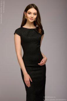 Платье-футляр черного цвета из жаккарда купить в Воронеже