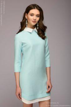 Платье-рубашка свободного кроя с голубым принтом и белой отделкой купить в Воронеже