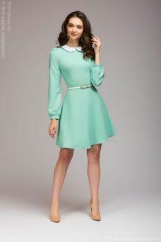 Короткое платье мятного цвета с белым воротничком купить в интернет-магазине