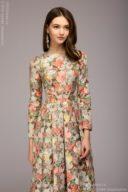 Платье макси с оранжевым цветочным принтом и длинными рукавами купить в интернет-магазине