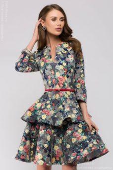 Синее платье с цветочным принтом длины мини из жаккарда с баской и вырезом на груди купить в Воронеже