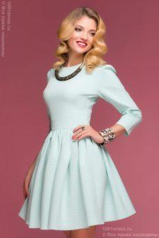Платье мини мятного цвета с принтом «круги» и пышной юбкой купить в Воронеже