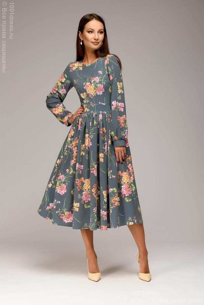 Синее платье миди с цветочным принтом и длинными рукавами купить в Воронеже