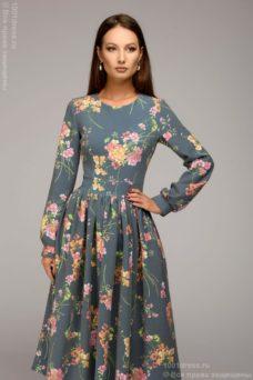 Синее платье миди с цветочным принтом и длинными рукавами купить в интернет-магазине