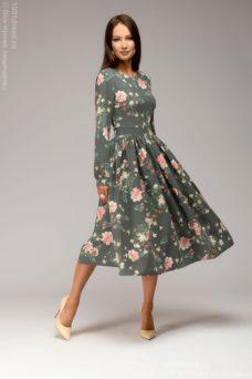 Серое платье миди с цветочным принтом и длинными рукавами купить в Воронеже