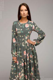 Серое платье миди с цветочным принтом и длинными рукавами купить в интернет-магазине