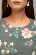 Купить Серое платье миди с цветочным принтом и длинными рукавами в магазине женской одежды в Воронеже