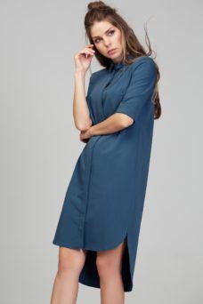 Платье-рубашка синего цвета с асимметричным низом и поясом купить в интернет-магазине