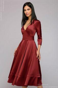 Бордовое платье миди с глубоким декольте и рукавами 3/4 купить в Воронеже