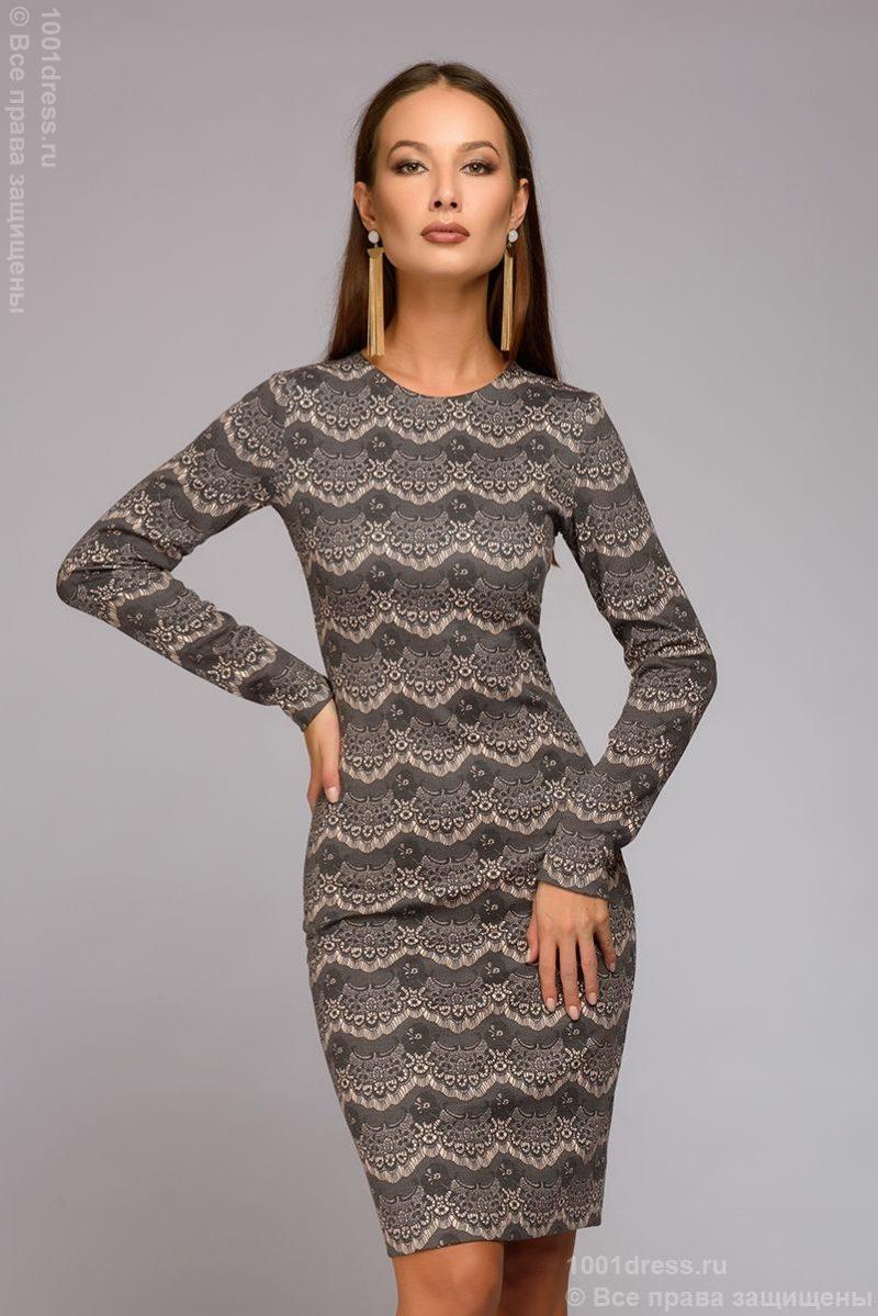 Короткое платье цвета пудры с имитацией кружева и длинными рукавами купить в Воронеже