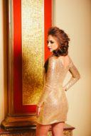 Золотое платье мини с пайетками купить в интернет-магазине