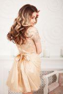 Заказать Бежевое платье мини с кружевным верхом и пышной юбкой на выпускной
