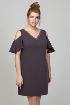 Короткое платье цвета мокко с открытыми плечами и воланами большого размера купить в интернет-магазине