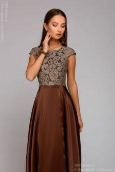 Длинное платье цвета мокко с разрезом на юбке купить в интернет-магазине