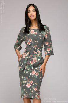Серое платье миди с цветочным принтом и широким поясом купить в Воронеже