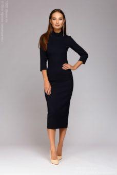 """Темно-синее платье-""""лапша"""" длины миди с эффектом утяжки купить в интернет-магазине"""