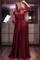 Заказать Вечернее платье в пол вишневого цвета с кружевным верхом и рукавами 3/4 с бесплатной доставкой по России